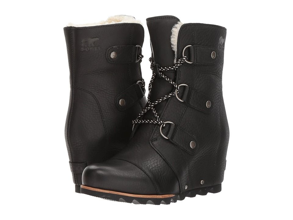 SOREL Joan Of Arctic Wedge Mid Shearling Women's Waterproof Boots Black/Ancient  Fossil