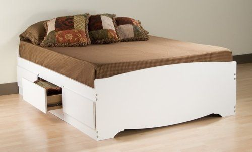 Amazon Com Storage Platform Bed In White Finish Full Home Kitchen