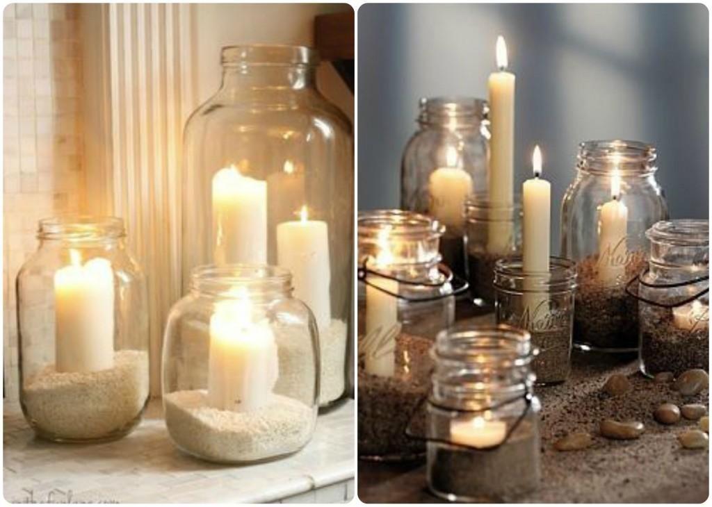 Ideas para crear unos candelabros muy originales - Lamparas con botes de cristal ...