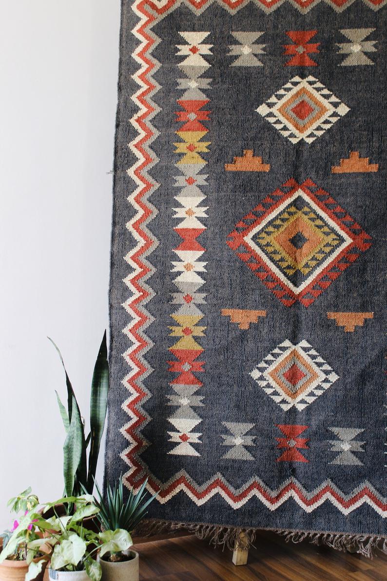 4 X 12 Handwoven Kilim Rug Gray Rug Dhurrie Rug Vintage Etsy In 2020 Kilim Rugs Rugs On Carpet Handwoven Kilim
