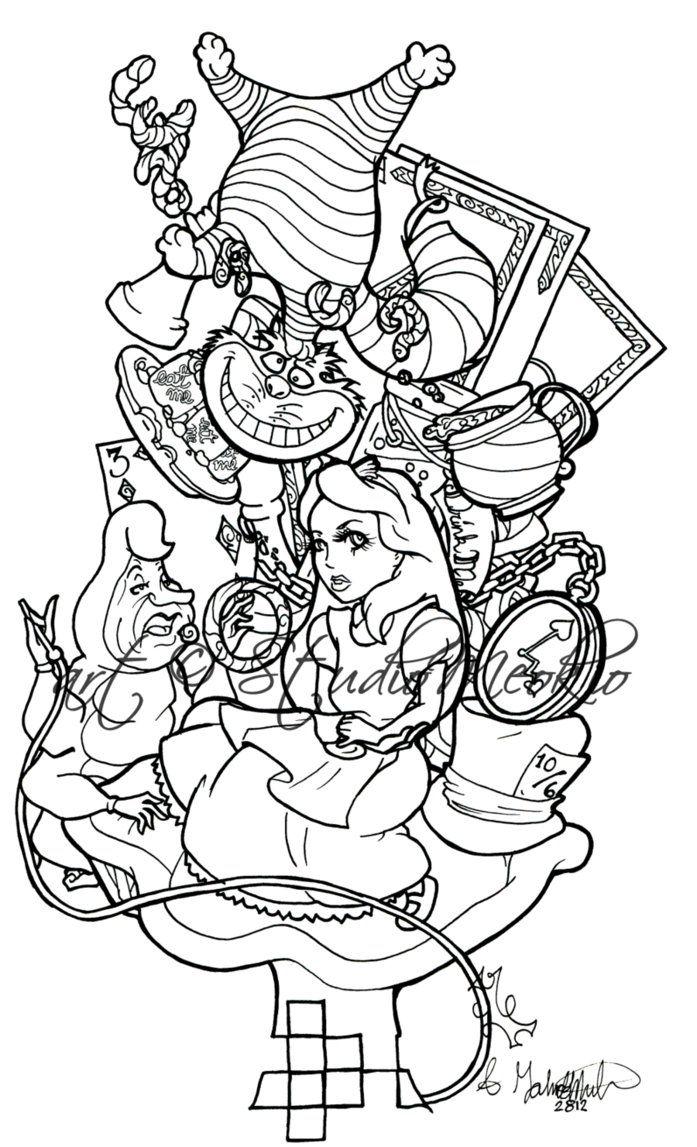 Pin By Ermakovich Irina On Alice In Wonderland Tattoo Deviantart Drawings Alice In Wonderland Cartoon Wonderland Tattoo