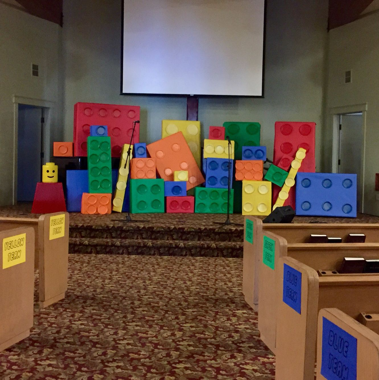 """Children S Church Stage Design Ideas: Lego Vacation Bible School, """"Only God Is Awesome"""