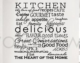 Vinyl Wall Sticker Art   Kitchen Words. Inspirational Words For The Kitchen