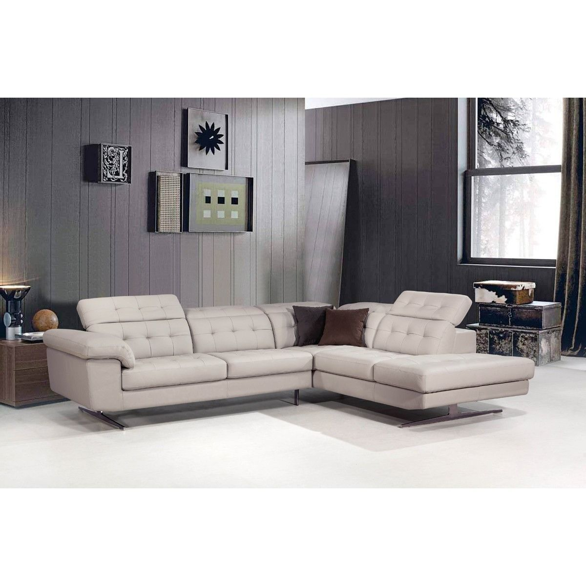 divani casa veneto modern grey italian leather sectional sofa the rh za pinterest com