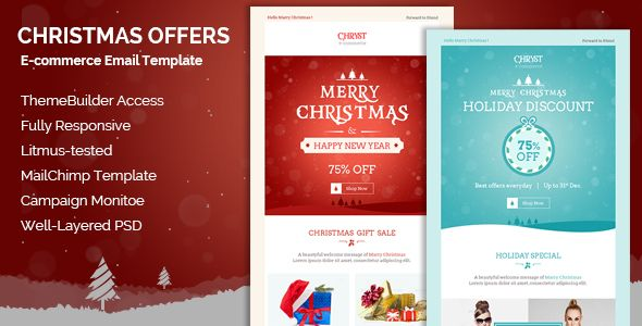 Christmas Offers Responsive Email Template  Christmas has - holiday newsletter template