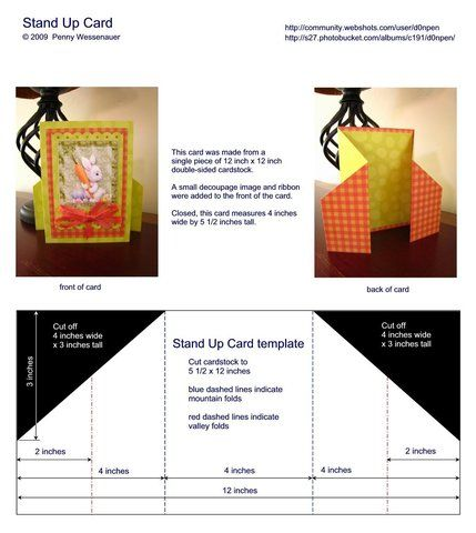 Stand Up Card Card Templates Card Patterns Card Making Templates