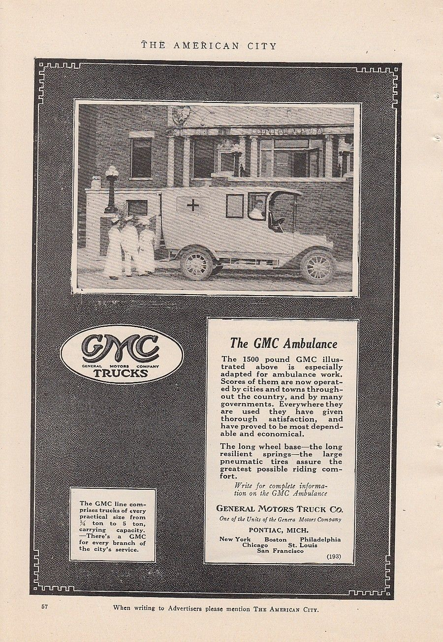 Gmc Ambulance 1917 Ad Trucking Companies Ambulance Gmc