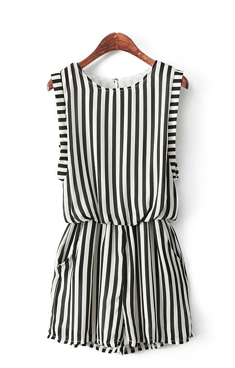 4cd881ebc1a Vertical Striped Print Chiffon Jumpsuit