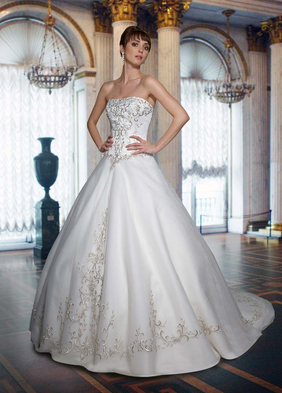 Satin ball gown strapless straight neckline embroidered bodice