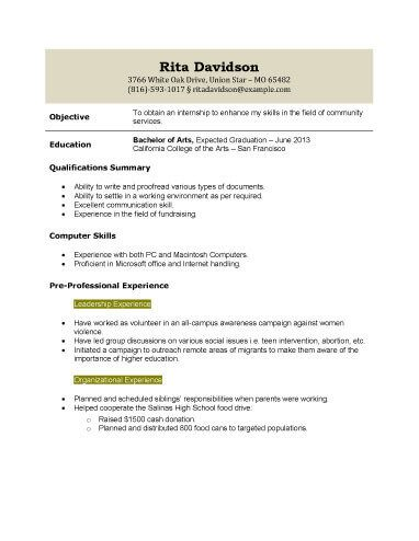 Intership Application Resume Template  Recipes    Recipes
