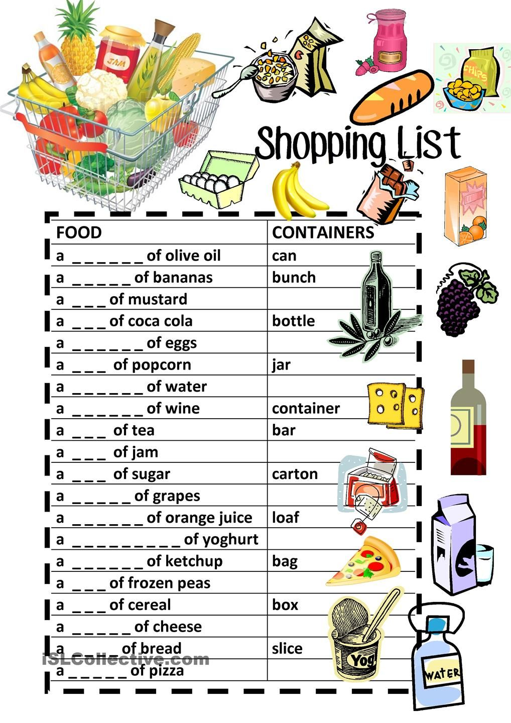 Food Containers Shopping List Fill-In Review | Banners for classroom ...