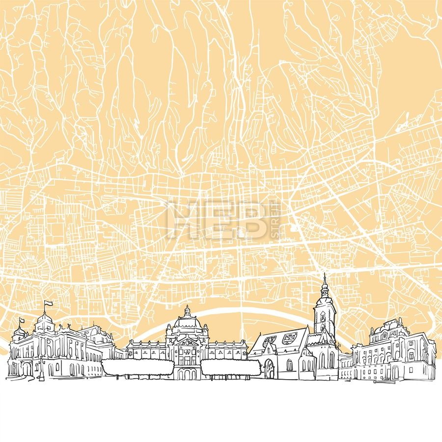 Zagreb Croatia Skyline Map | Landscapes Sketches and Motives ...