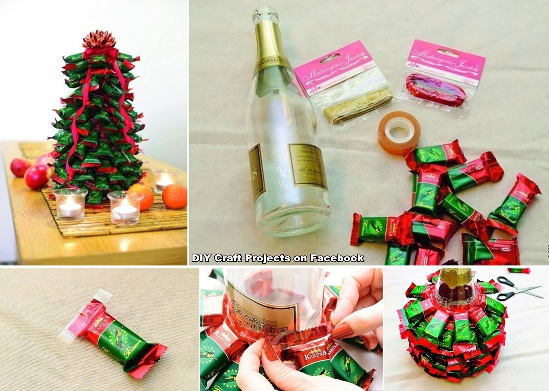 Wine Bottle Christmas Tree Craft.Using A Champagne Or Wine Bottle Make A Candy Christmas Tree