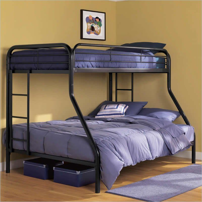 Dhp Twin Over Full Bunk Bed In Black 3136096 Metal Bunk Beds
