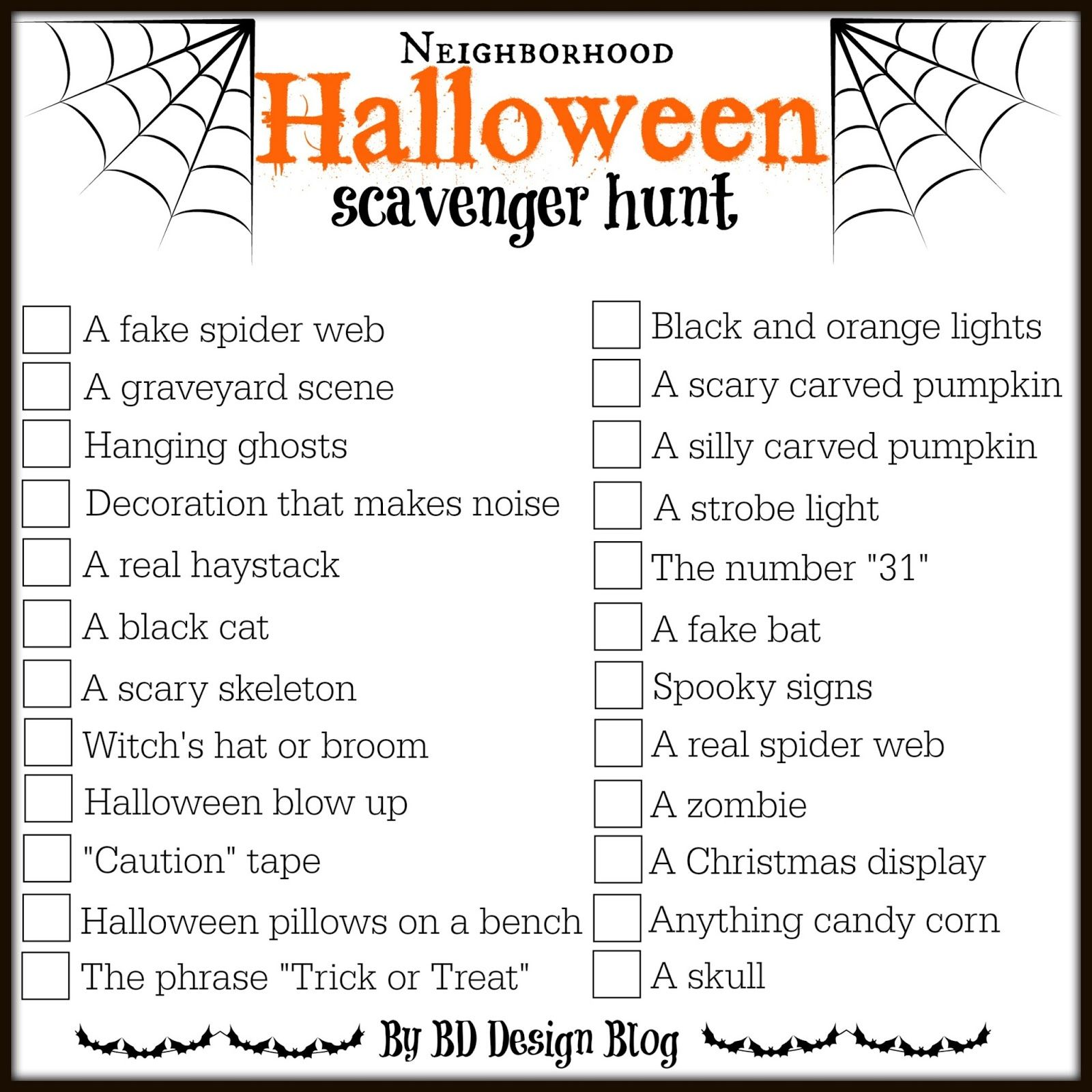 image about Free Printable Halloween Games for Adults called Regional Halloween Scavenger Hunt Halloween