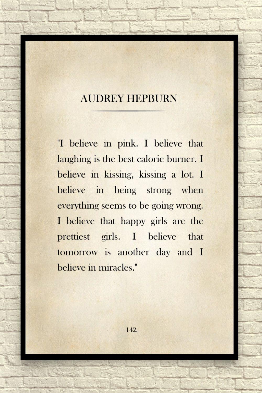 Audrey Hepburn Print, Audrey Hepburn Quote, Custom Art