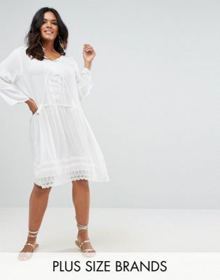 1c260a1354 Boohoo Plus Embroidered Midi Smock Dress Plus Size Womens Clothing