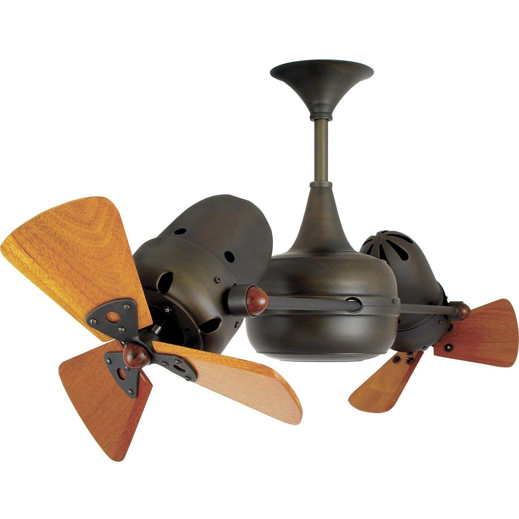 Duplo Dinamico Dual Ceiling Fan Wood Blades