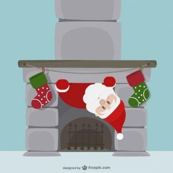 Dibujos Chimeneas De Navidad.Santa Claus Entrando Por La Chimenea Los Maestros