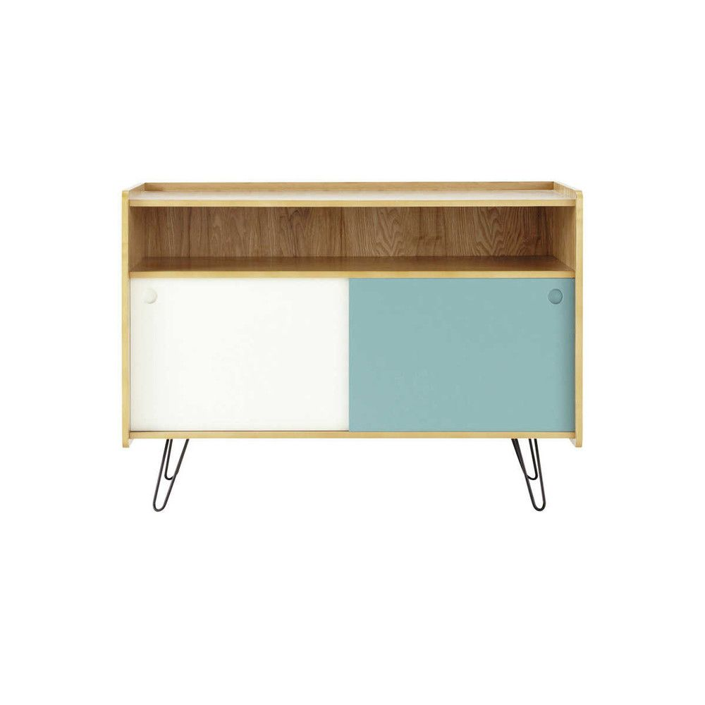 Mueble De Tv Vintage Blanco Y Azul De Madera An 105 Cm Vintage  # Le Corner Meuble Tv Blanc Led Hi Fi Integre
