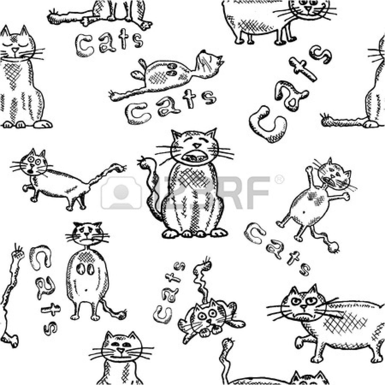 Naadloze achtergrond van grappige hand getekende katten photo