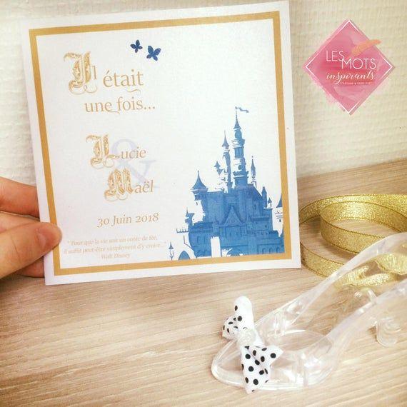 Faire part mariage disney, invitation chateau Disney, faire part sur mesure