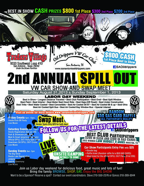 Nd Annual Spill Out VW Car Show Swap Meet August St Sept St - Traders village san antonio car show