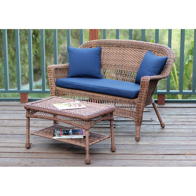 Outdoor Jeco Wicker Patio Loveseat And