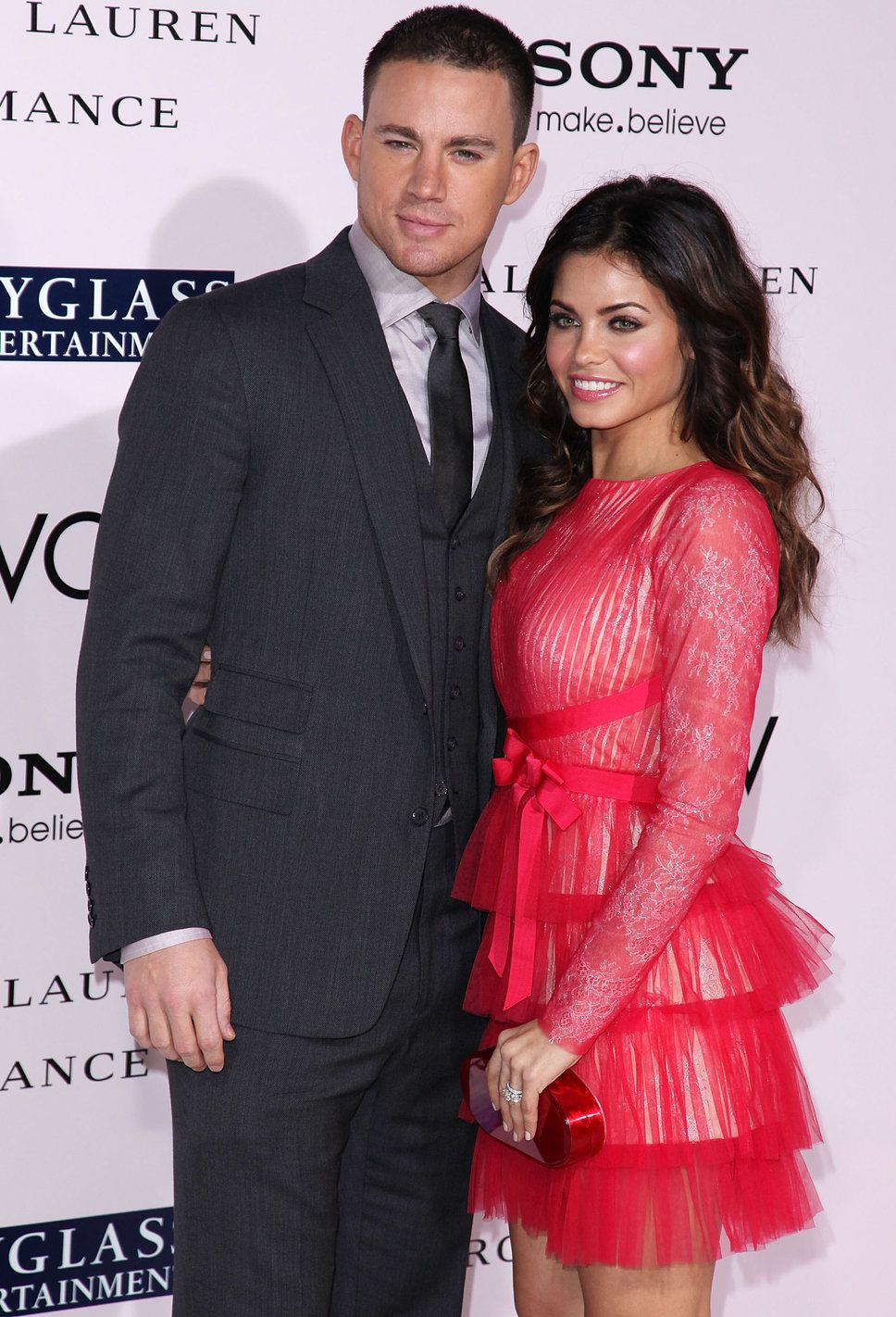 Channing Tatum Jenna Dewan-Tatum black suit grey shirt black tie ...