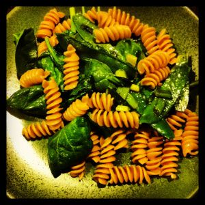 Whole grain pasta with three kinds of greens #recipe