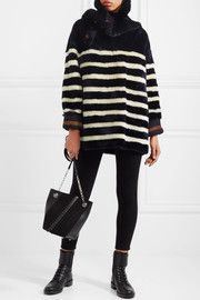 Arctique reversible striped shearling coat