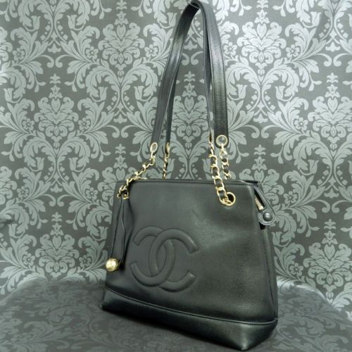 7ca0f370418f Rise-on-CHANEL-Caviar-Skin-Leather-Black-Chain-Shoulder-bag-Handbag ...