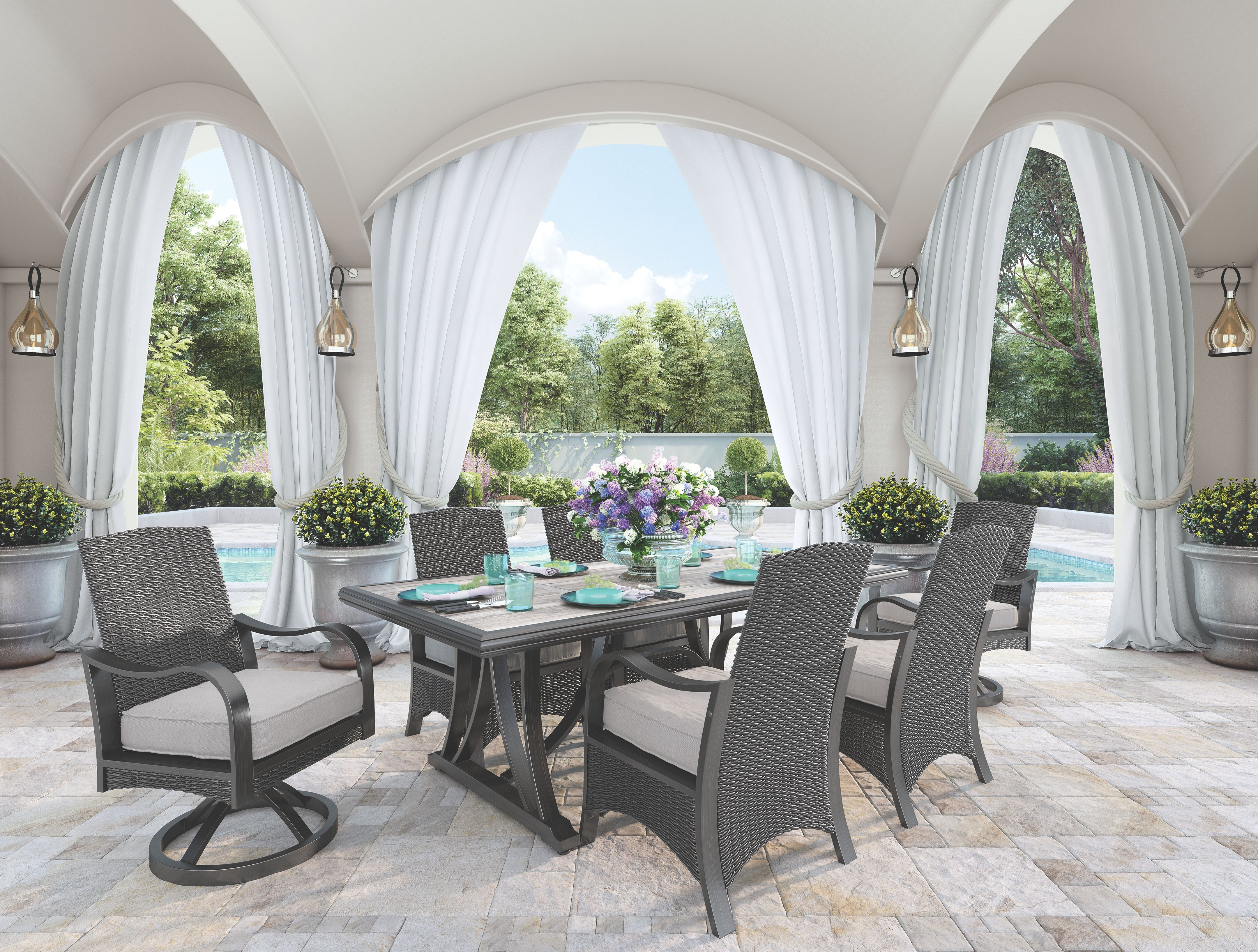 Marsh Creek Dining Table With Umbrella Option Brown Furniture