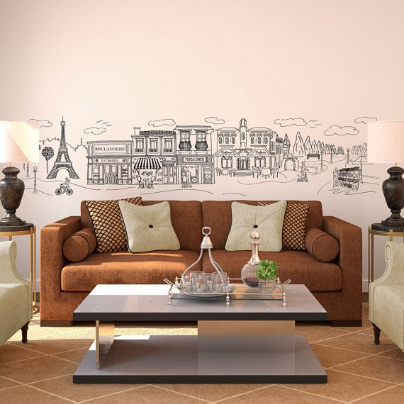 Doodled Paris Eiffel Tower Street And Park Scene Whimsical - Custom vinyl wall decals for classrooms