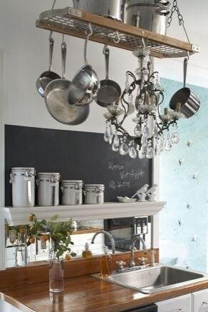 34 chandelier from pot rack granddaddy s house pinterest pot rh pinterest com