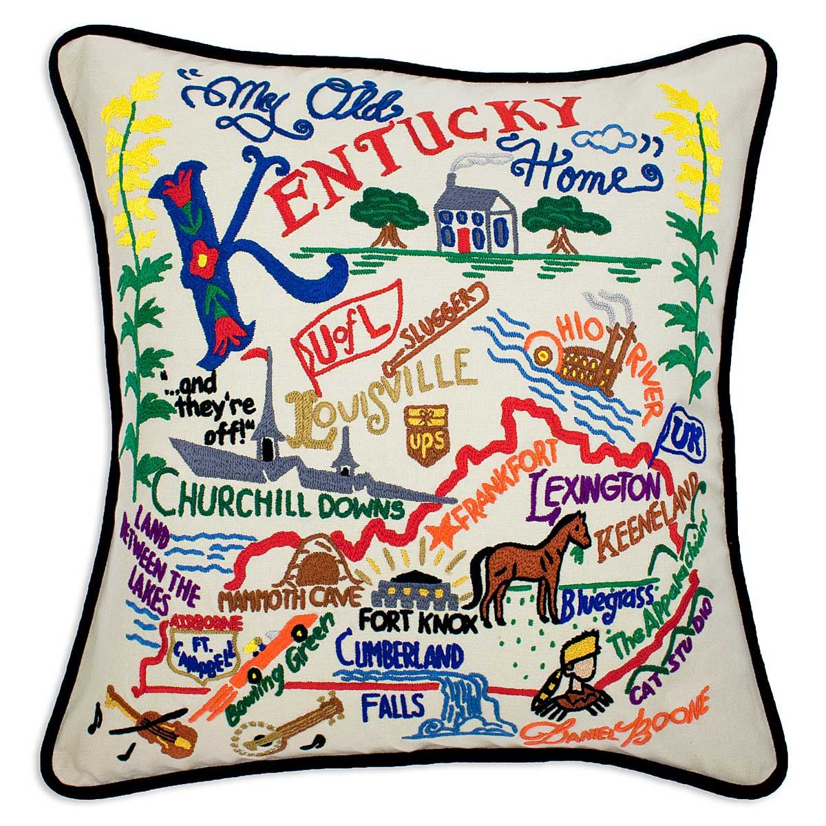Alabama State Pillow | Hand Embroidered State Pillows