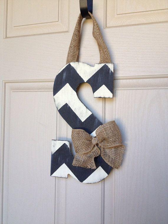 Letters To Hang On Front Door Part - 41: Distressed Chevron Wooden Door Hanging Letters On Etsy, $17.50
