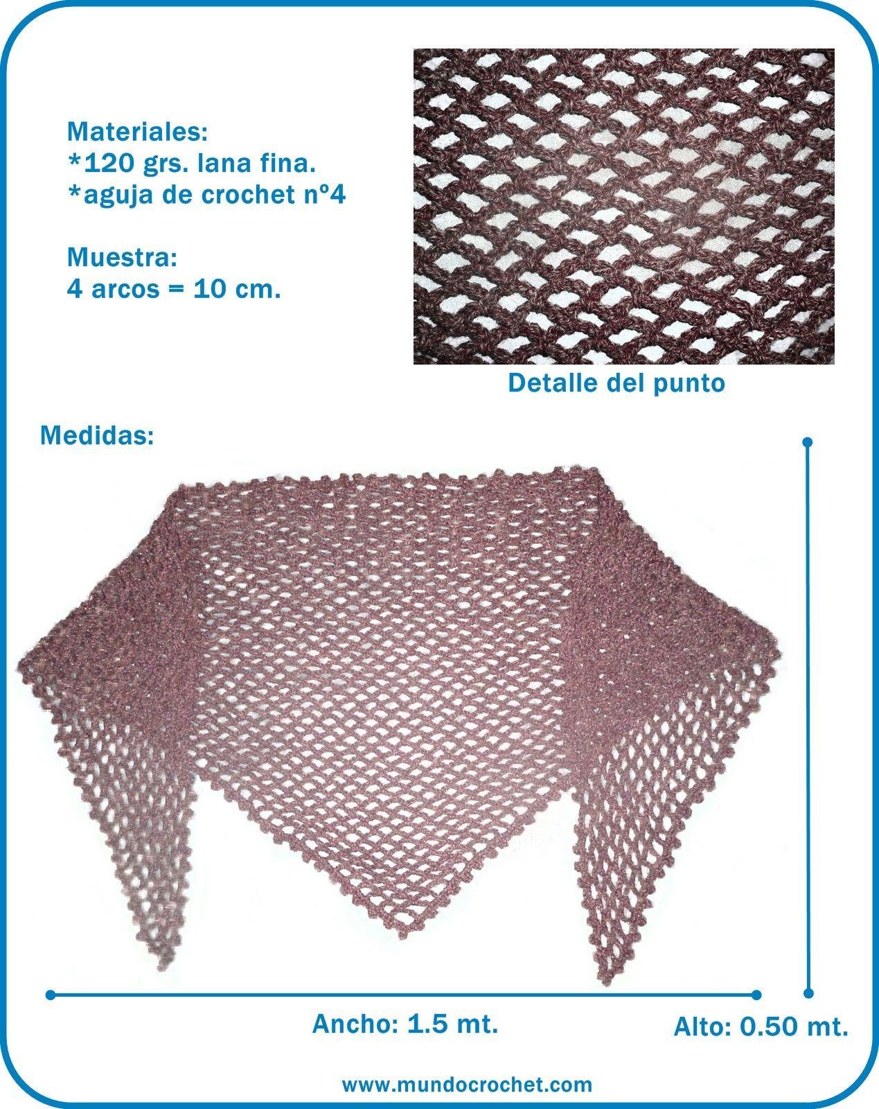 Chal triangular en punto red - Triangular crochet scarf - Mundo ...