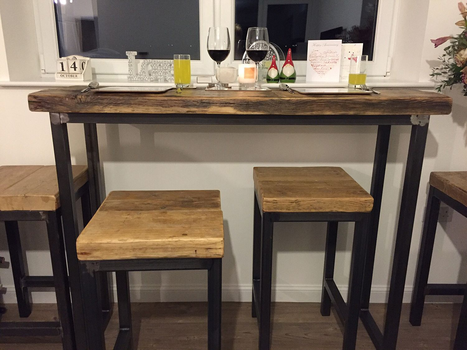industrial mill style reclaimed wood breakfast bar two stools rh pinterest com