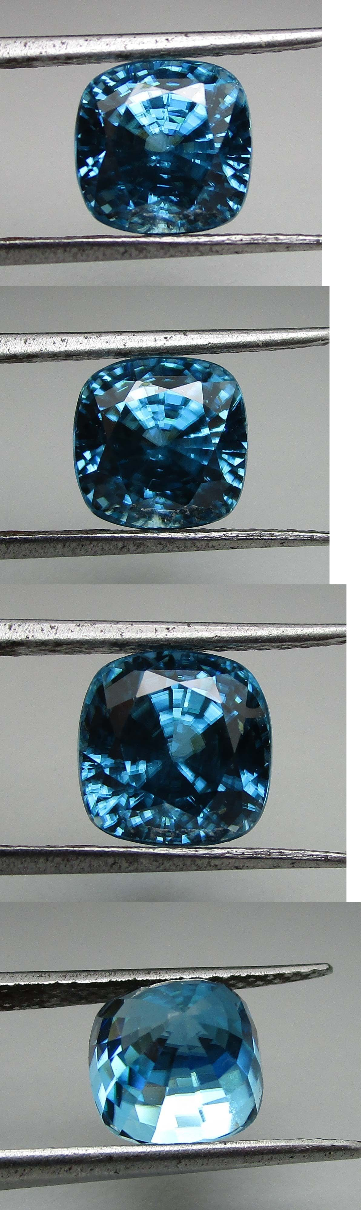 Zircon 10286: 9.11Ct Vvs Cushion Nice Natural Fire Blue Cambodian Zircon -> BUY IT NOW ONLY: $455.0 on eBay!