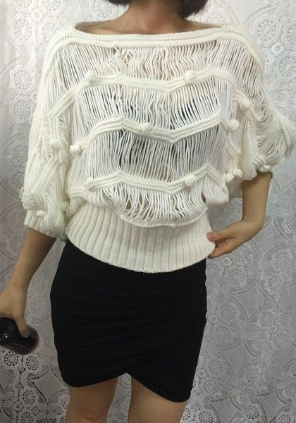 Lookbook Store Beige Macrame Batwing Sweater #Sweater