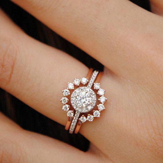 Diamond Engagement Ring with Ring Enhancer Set  Wedding Ring Set  Halo Diamond Ring  Diamond Ring Guard  14k Gold Edwardian Bridal Ring Set - Wedding rings unique, Wedding rings vintage, Wedding ring sets, Etsy wedding rings, Wedding rings simple, Wedding rings oval - Abhikajewels  Thank you for visiting our shop   ) <3