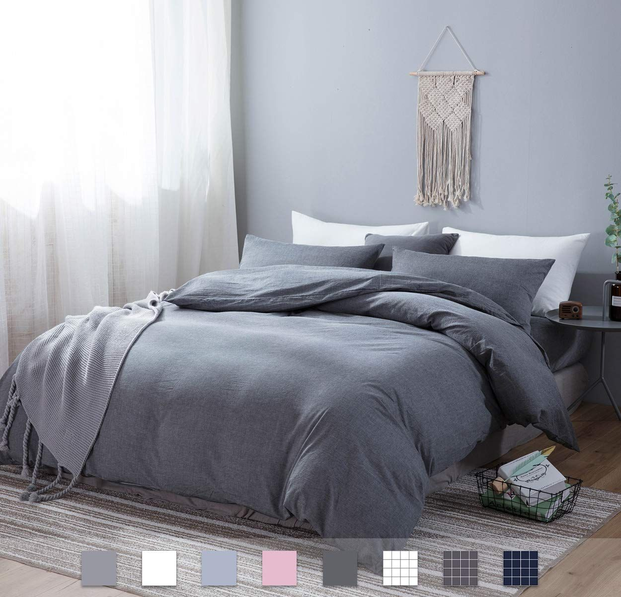 Sleepbella Duvet Cover Set 3 Pieces Washed Cotton Comforter Quilt Cover Gray Zip King Read More At In 2020 Duvet Cover Sets Bedding Sets Grey Bed Duvet Covers