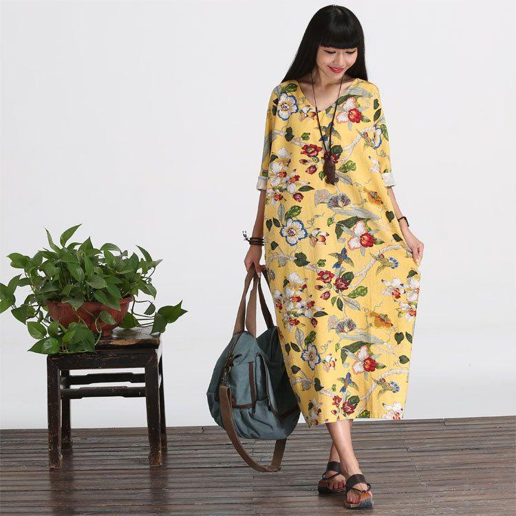 Casual-lose passend langen Ärmeln Baumwolle lange Kleid ...