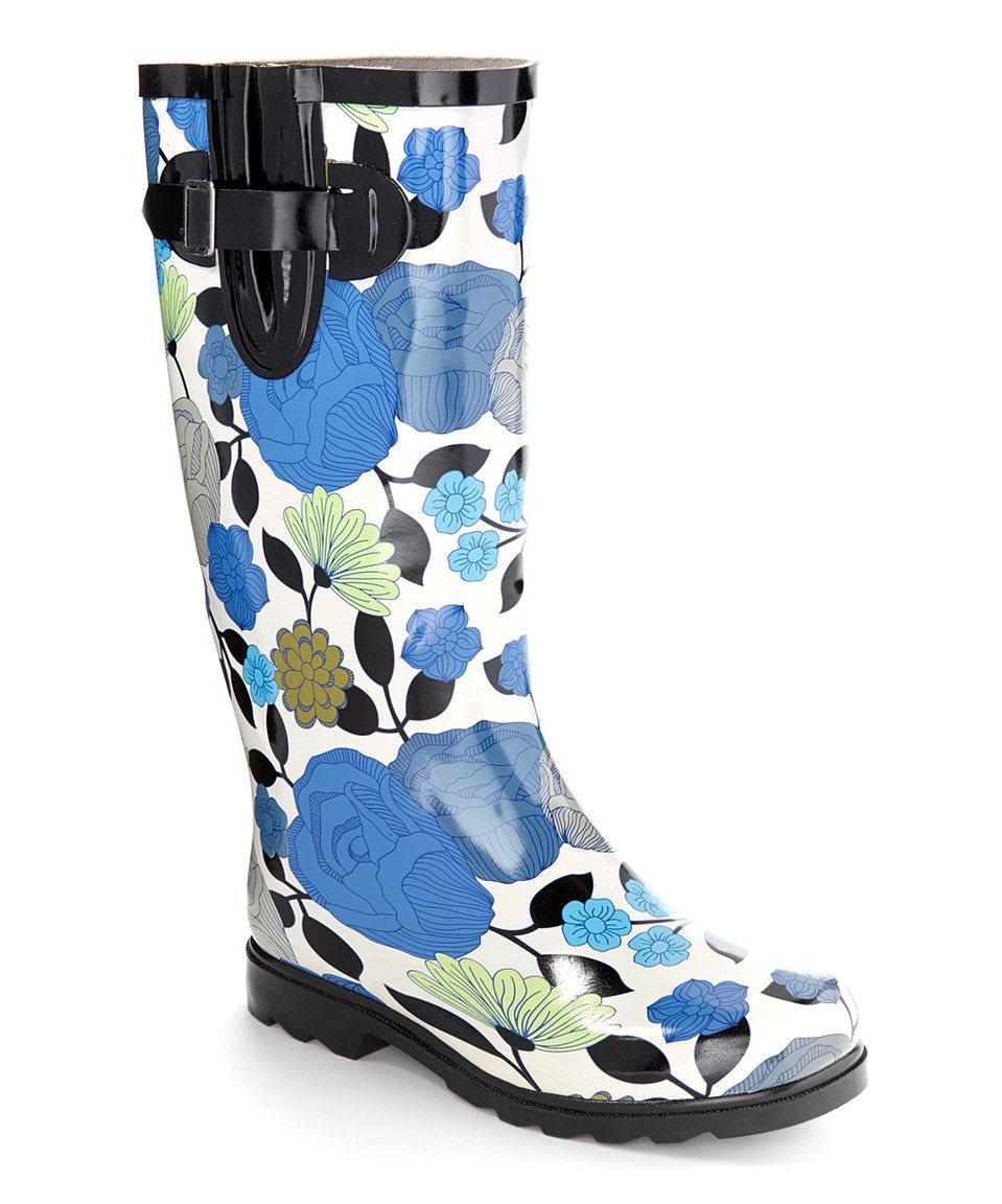 c035aa02907 Love this Nomad 2 White & Blue Roses Drench Rain Boot by Nomad 2 on ...