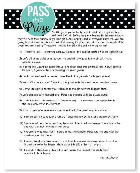 Pass The Prize Game-Pass the prize game, baby shower game, baby shower ...