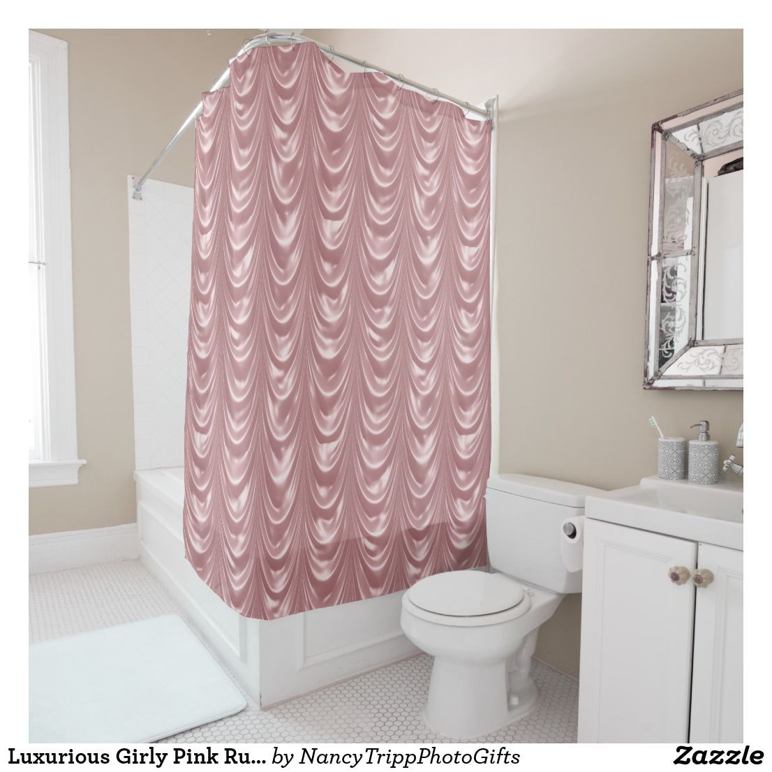 Luxurious Girly Pink Ruched Satin Scalloped Shower Curtain