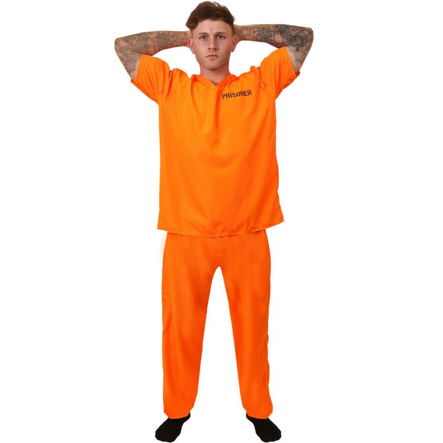 Prisoner Jail Mens Fancy Dress Halloween Costume NEW Prison Break Convict