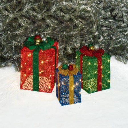 Holiday Time Christmas Decor Set of 3 Glittering Mesh Gift Box Sculpture, Clear
