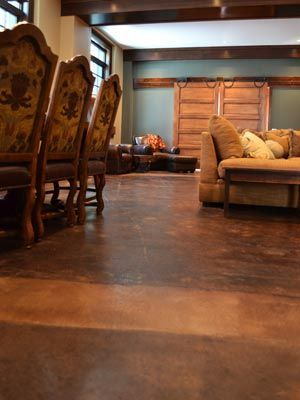 these concrete floors look like leather we installed an overlay on rh pinterest com